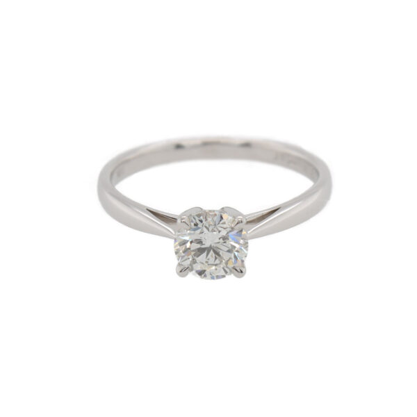 This solitaire engagement ring from The Forevermark Tribute™ Collection is crafted from 18k white gold and features a 0.75 carat diamond.