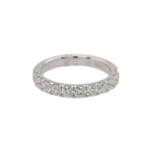 This 11 stone diamond wedding band from The Forevermark Tribute™ Collection is crafted from 18k white gold and features 0.99 total carats of diamonds.