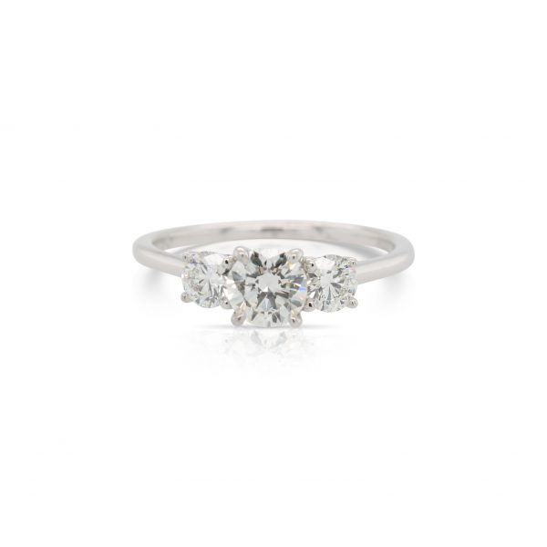 This 3 stone diamond engagement ring by The Forevermark Tribute™ Collection is crafted from 18k white gold and features 0.97 total carats of diamonds.