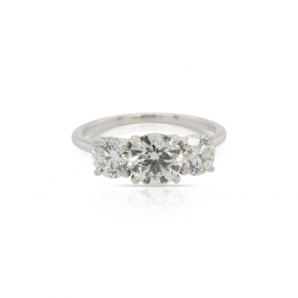 This 3 stone diamond engagement ring by The Forevermark Tribute™ Collection is crafted from 18k white gold and features a 1.00 carat center diamond and 1.00 total carats of side diamonds.