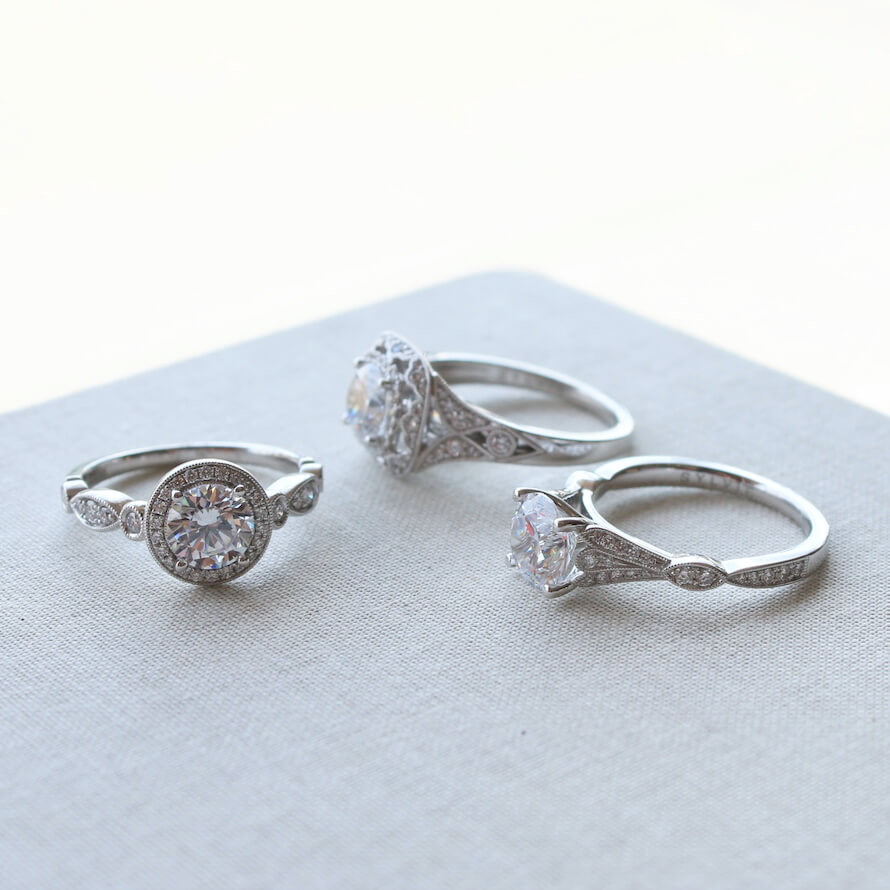Vintage silver engagement ring set.
