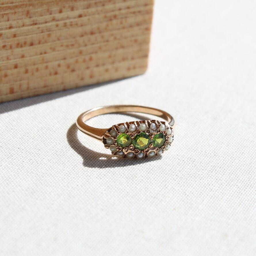 Green jeweled Victorian era ring.