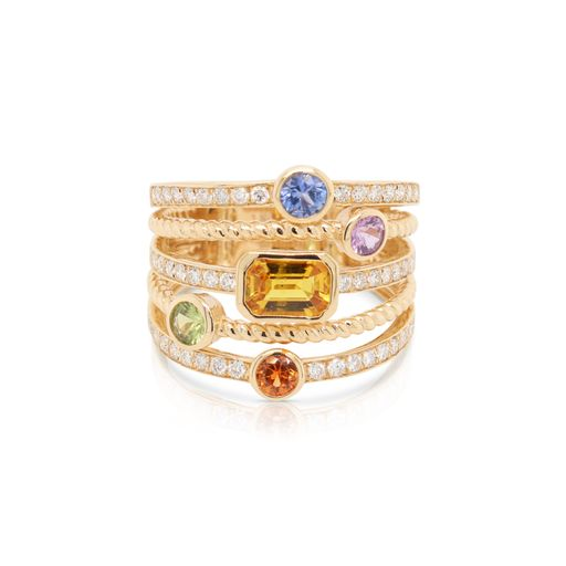 This multicolored ring by Rafael is crafted from 14k yellow gold and features 1.17 total carats of multicolored gemstones and 0.43 total carats of diamonds.