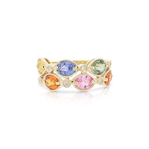 This multicolored ring by Rafael is crafted from 14k yellow gold and features 2.84 total carats of multicolored gemstones and 0.05 total carats of diamonds.