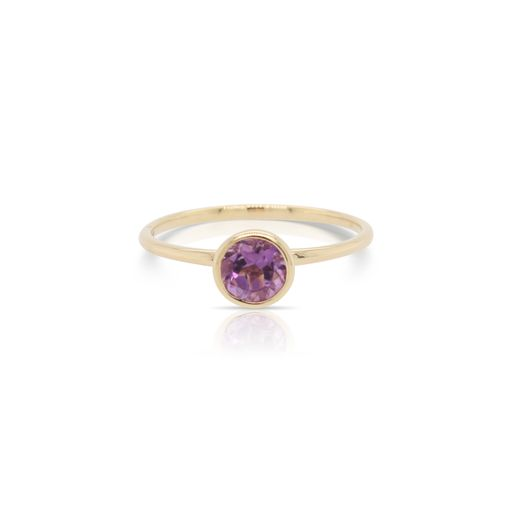 This solitaire amethyst ring by Rafael is crafted from 14k yellow gold and features a 0.50 carat round amethyst.