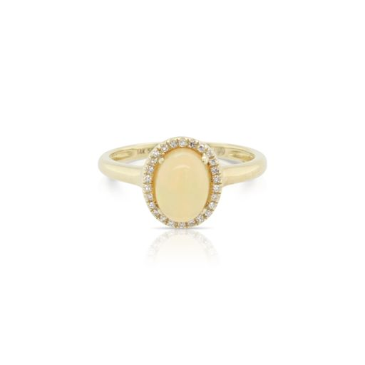 This opal and diamond ring by Rafael is crafted from 14k yellow gold and features a 0.85 carat oval opal and 0.06 total carats of diamonds around the halo.