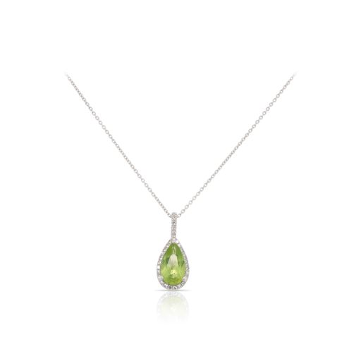This peridot and diamond necklace by Rafael is crafted from 14k white gold and features a 1.15 carat pear shaped peridot and 0.08 total carats of diamonds.