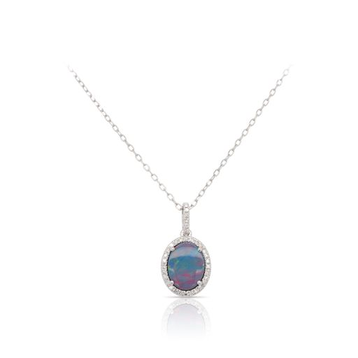 This opal and diamond necklace by Rafael is crafted from 14k white gold and features a 1.25 carat oval opal and 0.09 total carats of diamonds around the halo.