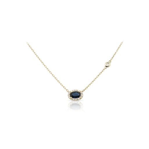 This sapphire and diamond necklace by Rafael is crafted from 14k yellow gold and features a 0.60 carat oval sapphire and 0.07 total carats of diamonds around the halo.