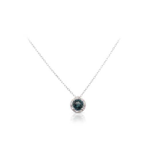 This London blue topaz and diamond necklace by Rafael is crafted from 14k white gold and features a 1.00 carat round London blue topaz and 0.06 total carats of diamonds around the halo.