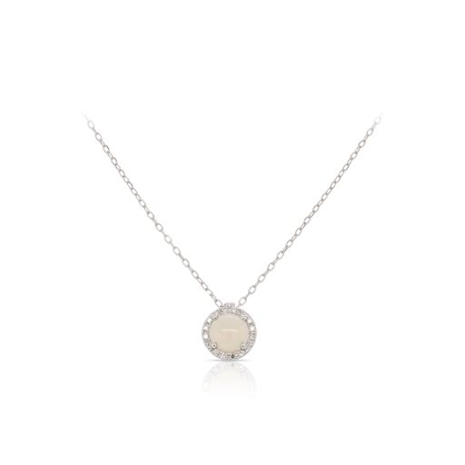 This opal and diamond necklace by Rafael is crafted from 14k white gold and features a 0.60 carat white opal and 0.06 total carats of diamonds around the halo.
