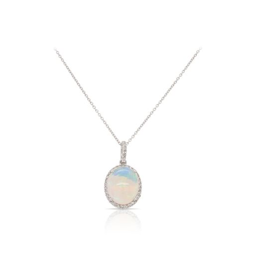 This opal and diamond necklace by Rafael is crafted from 14k white gold and features a 1.90 carat oval opal and 0.12 total carats of diamonds around the halo.