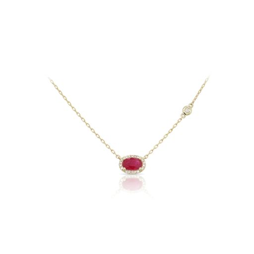 This ruby and diamond necklace by Rafael is crafted from 14k yellow gold and features a 0.60 carat oval ruby and 0.07 total carats of diamonds around the halo.