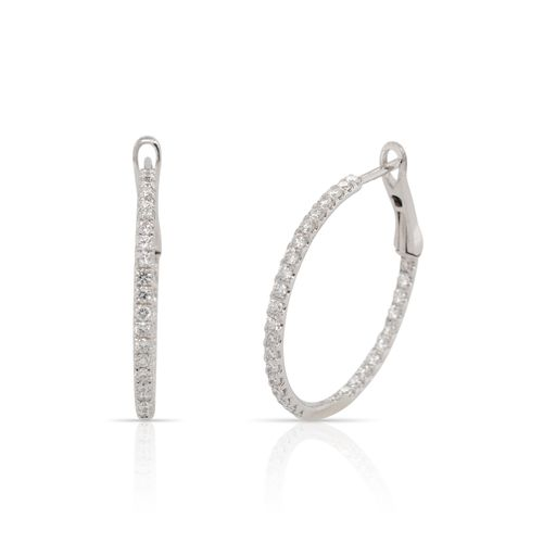 This pair of diamond hoop earrings by Rafael is crafted from 14k white gold and features 0.89 total carats of diamonds on the inside and outside of the hoops.
