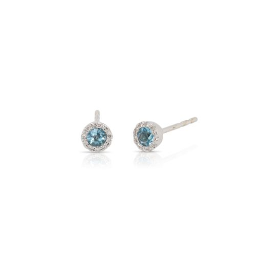 This pair of blue topaz and diamond earrings by Rafael is crafted from 14k white gold and features 0.26 total carats of round blue topaz and 0.07 total carats of diamonds around the halo.