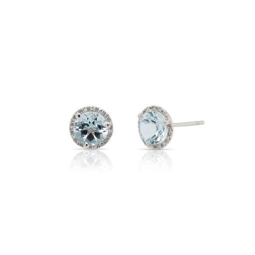 This pair of aquamarine and diamond earrings by Rafael is crafted from 14k white gold and features 1.50 total carats of round aquamarines and 0.08 total carats of diamonds around the halo.