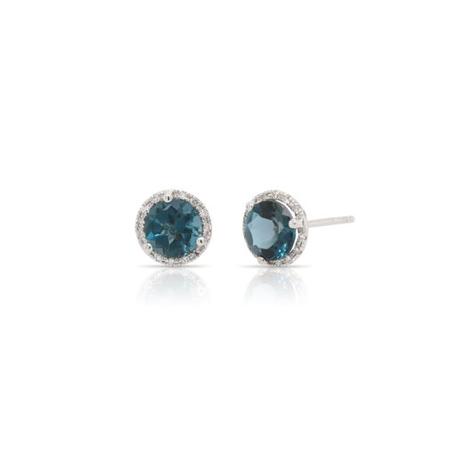 This pair of London blue topaz and diamond earrings by Rafael is crafted from 14k white gold and features 2.25 total carats of round London blue topaz and 0.08 total carats of diamonds around the halo.