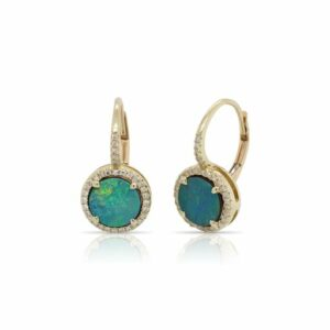 This pair of Australian opal and diamond earrings by Rafael is crafted from 14k yellow gold and features 1.75 total carats of opal and 0.16 total carats of diamonds.