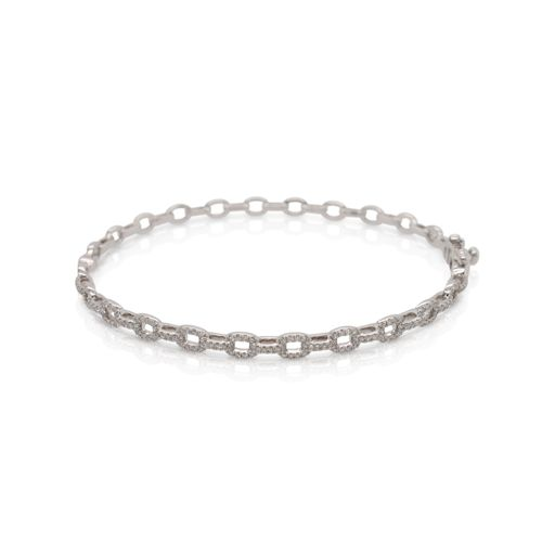 This diamond link bangle bracelet by Rafael is crafted from 14k white gold and features 0.51 total carats of diamonds.