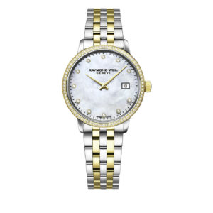This Raymond Weil Toccata watch features diamond markers and bezel, a mother-of-pearl dial, and a quartz movement. The two-tone bracelet and 29mm case are crafted from stainless steel and yellow gold PVD.