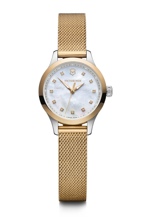 This Alliance Extra Small watch from Victorinox Swiss Army features a 28mm stainless steel case, stainless steel bracelet, and a quartz movement. The mother-of-pearl dial sparkles with eleven Swarovski crystals.