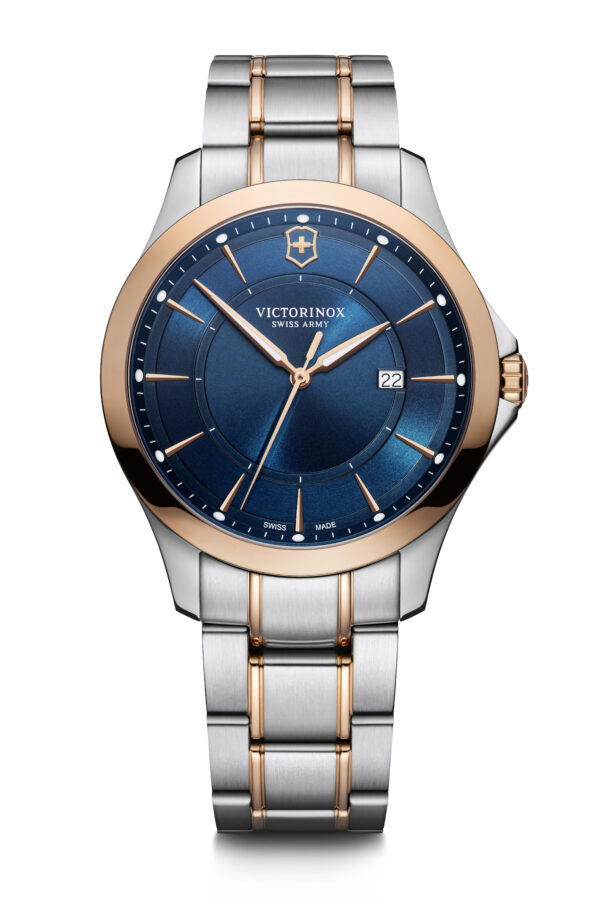 This Alliance watch from Victorinox Swiss Army features a 40mm stainless steel case, stainless steel bracelet, a blue dial, and a quartz movement.