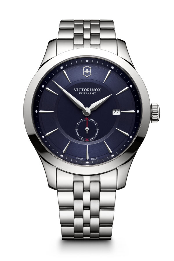 This Alliance watch from Victorinox Swiss Army features a 44mm stainless steel case, stainless steel bracelet, a blue dial, and a quartz movement.