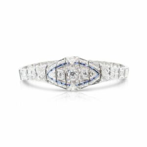 This diamond and sapphire bracelet is crafted from platinum and features 3.00 total carats of diamonds and 0.70 total carats of sapphires.