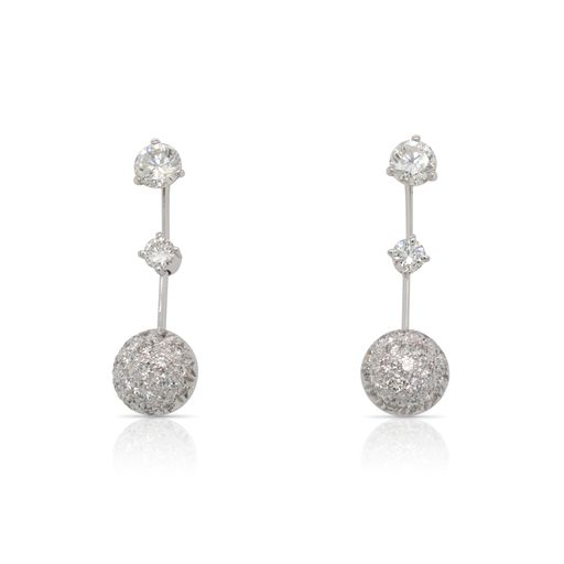 This pair of diamond earrings jackets is crafted from 18k white gold and features 1.00 total carats of diamonds. The diamond stud earrings are chosen separately.