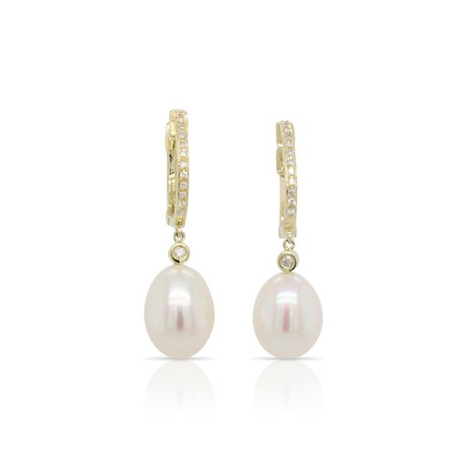 This pair of pearl and diamond earrings by Rafael is crafted from 14k yellow gold and features two pearls and 0.09 total carats of diamonds.