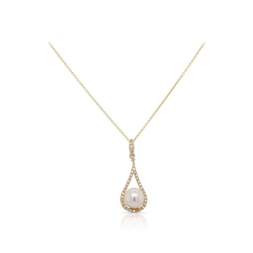 This pearl and diamond necklace by Rafael is crafted from 14k yellow gold and features a pearl and 0.10 total carats of diamonds.