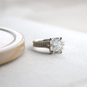 3.05ct Radiant Cut Forevermark Diamond Pave Ring