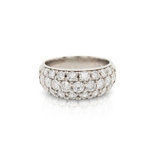 This three row diamond band by R. F. Designs is crafted from platinum and features 1.79 total carats of diamonds.