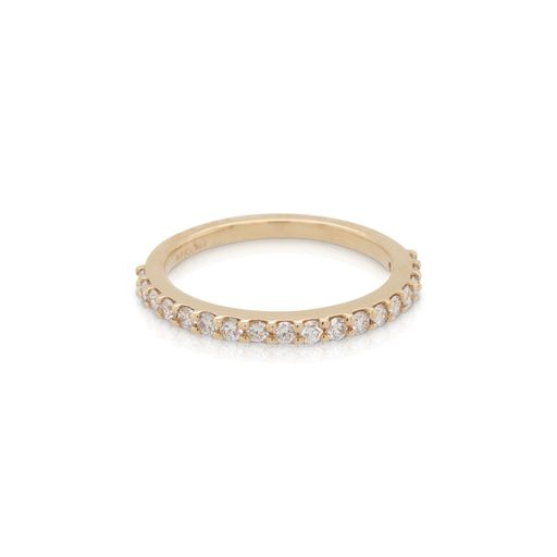 This diamond half round band by R. F. Moller Designs is crafted from 14k yellow gold and features 1/3 total carats of diamonds.