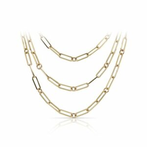 This paperclip necklace by Roberto Coin is crafted from 18k yellow gold and features 0.08 total carats of diamonds.