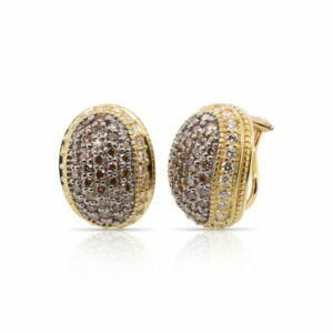 This pair of diamond earrings by Judith Ripka is crafted from 18k yellow gold and features 2.28 total carats of diamonds.