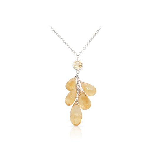 This citrine necklace is crafted from sterling silver and features a cluster of teardrop shaped citrine.
