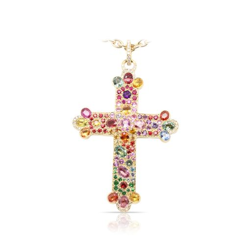 This multicolored sapphire and diamond pendant by Norman Covan is crafted from 18k yellow gold and features 13.12 total carats of multicolored sapphires and 0.20 total carats of diamonds. This piece includes a matching chain.