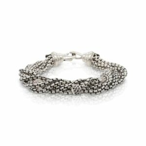 This bracelet by David Yurman is crafted from sterling silver and features 1.00 total carats of black and white diamonds.